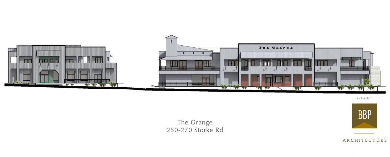 An architect's rendition show what The Grange Shopping Center on the 200 block of Storke Road in Goleta will look like when the project is complete.