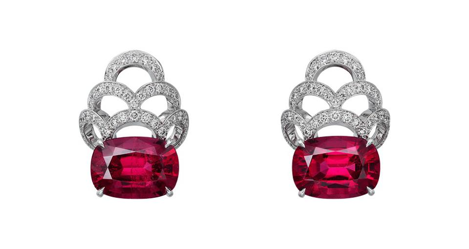 Cartier [Sur]Naturel high-jewelry earrings, in 18K white gold with 11.34 carats rubellite and 1.57 carats diamond, price on request, cartier.com