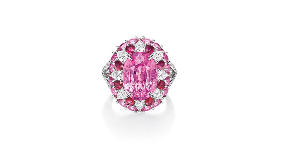 Harry Winston Candy ring in platinum with a 10.59-carat pink sapphire, ruby, diamond, and pink sapphire, price on request, harrywinston.com