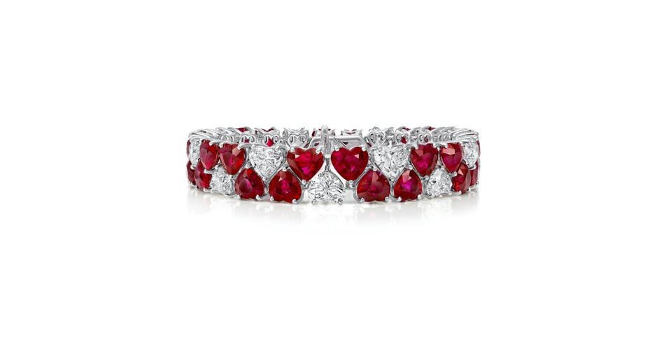 Graff Heart bracelet in 18K white gold with 46.90 carats ruby and 17.67 carats white diamond, price on request, graff.com