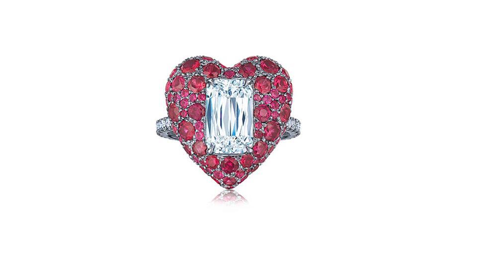 Kwiat Heart ring in platinum with 3.23 carats ruby, 2.02-carat Ashoka diamond, and .27 carats diamond, $84,000, kwiat.com