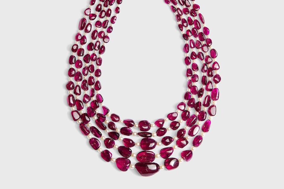 Sanjay Kasliwal Harshika necklace with 1,282.48 carats rubellite, 128.96 carats pearl, and 6.75 carats diamond, price upon request, sanjaykasliwal.com