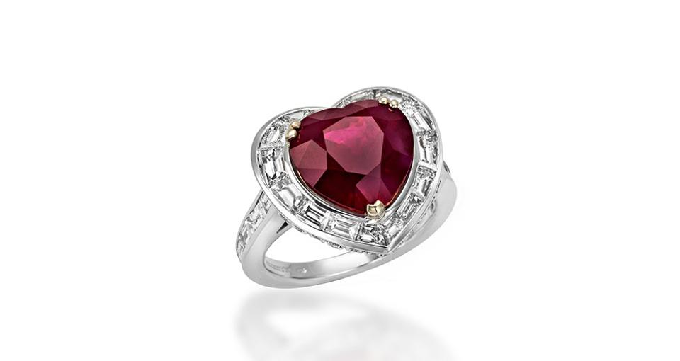 Picchiotti Heart ring in 18K white and yellow gold with a 7.11-carat ruby and 3.18 carats diamond, $190,000, leedsandson.com