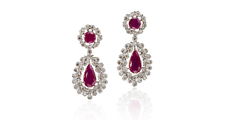 Buccellati earrings 18K white and yellow gold with 21.78 carats ruby and 4.18 carats diamond, $75,000, buccellati.com