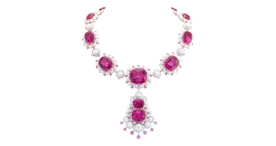 Van Cleef & Arpels Demoiselle Gracieuse necklace in 18K white and rose gold with 206.68 carats rubellite, pink sapphire, pearl, and diamond, price on request, vancleefarpels.com