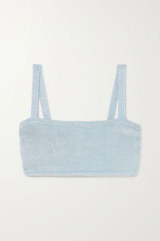 Cropped stretch-knit bra top