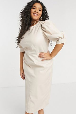 Leather look puff sleeve pencil skirt midi dress in stone