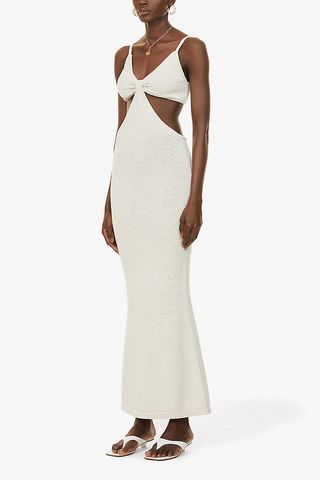 Serita twist-knot cotton-blend maxi dress