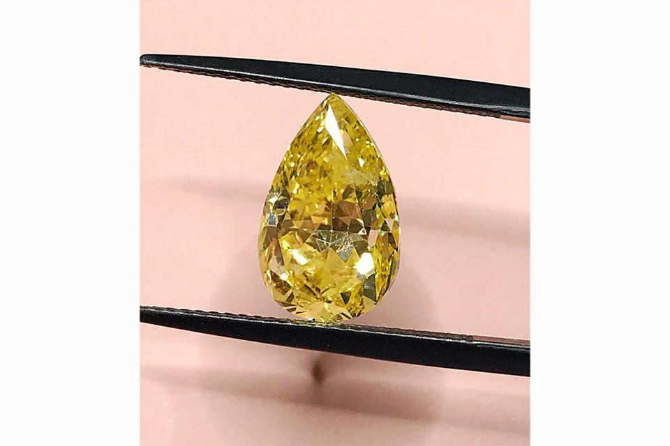This pear-shaped fancy yellow diamond is destined for a gorgeous piece of jewelry