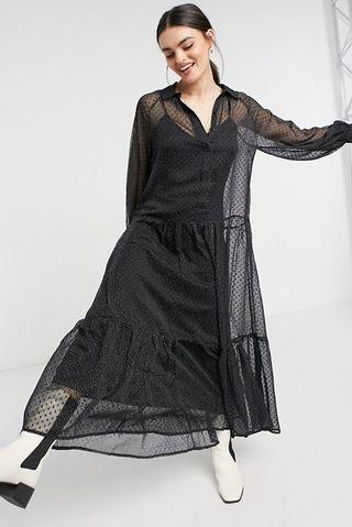 Tiered smock shirt maxi dress in mono dobby spot