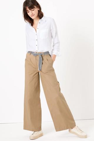 Cotton Belted Wide Leg Chinos [waist : 16; inside leg : Short]