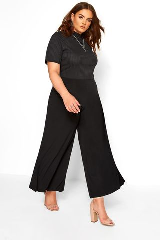 Black Super Wide Leg Jersey Palazzo Trousers
