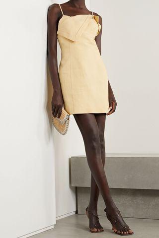 Open-back draped linen mini dress