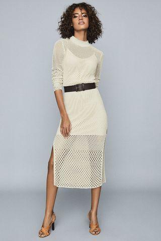 Emmy Neutral Open-Knit Bodycon Dress