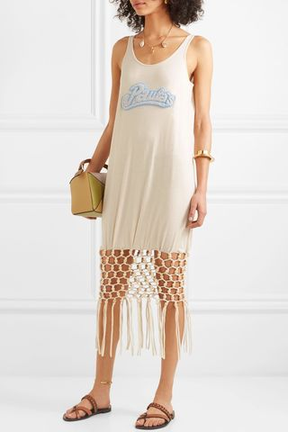 + Paula's Ibiza embellished macramé-trimmed silk and cotton-blend jersey dress
