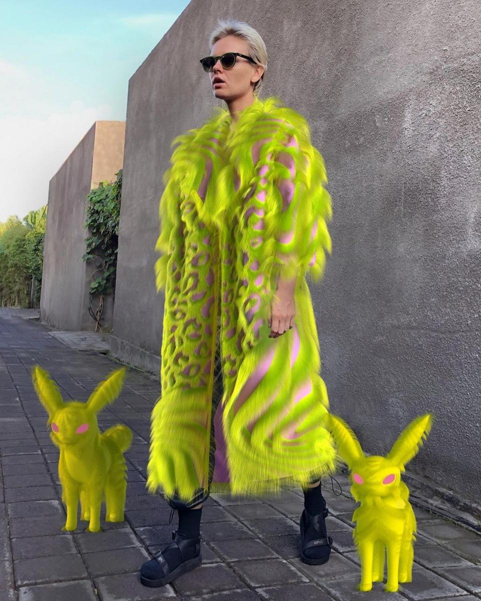Neon Digital Fur Coat by @kaikai_design can be downloaded from Replicant digital fashion platform