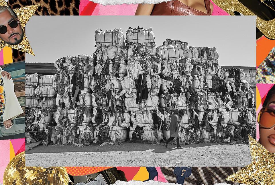 black/white photo of bales of used clothing near Tunis with photo-illustration frame by Barbara Rego