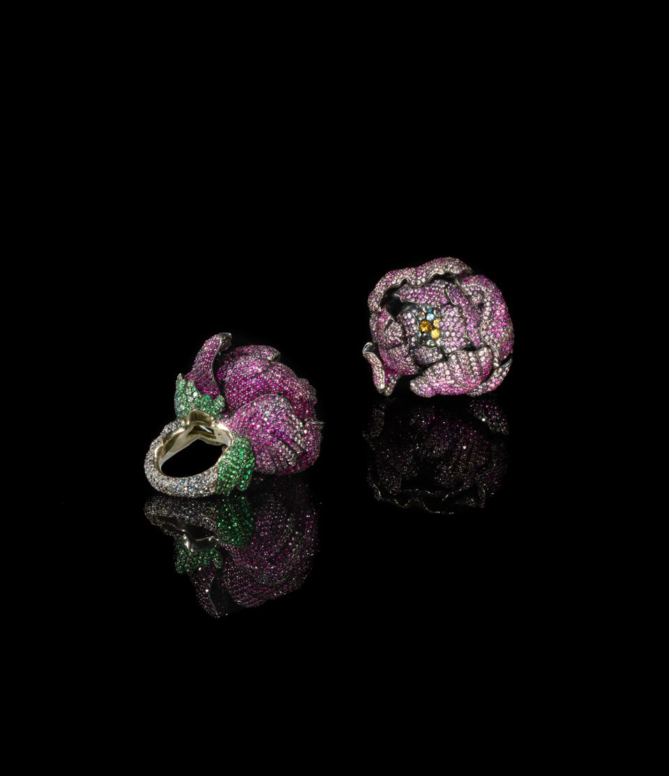 Colored gemstone flower rings by artist-jeweler Frédéric Zaavy are forever in bloom.