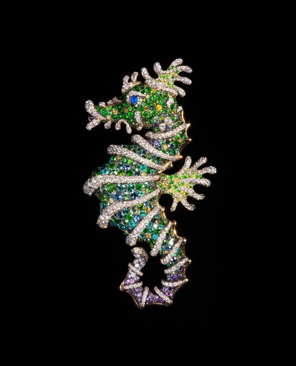 Seahorse brooch in various colored diamonds, sapphires and other gems by Frederic Zaavy