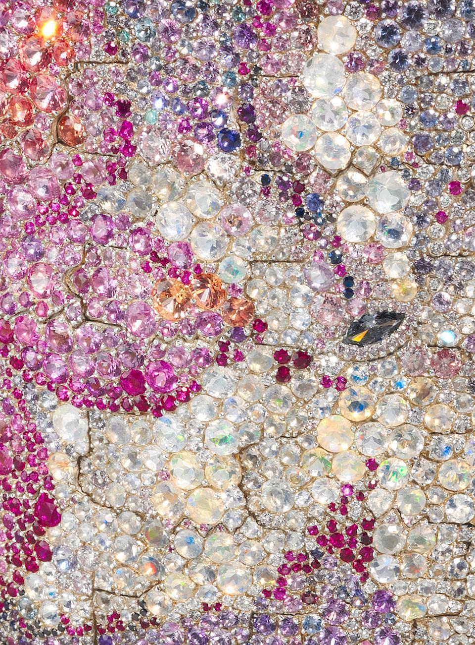 Colored diamonds other stones glisten in the Les Nymphéas bracelet by Frédéric Zaavy