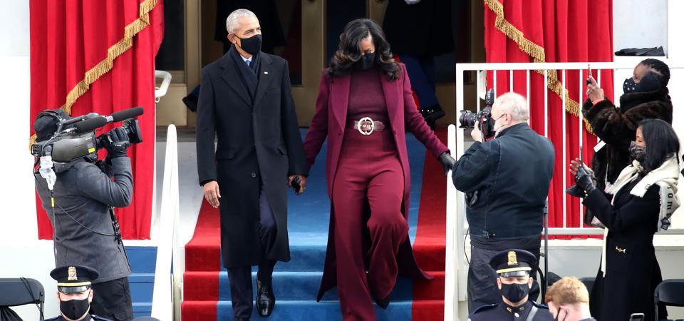 President Barack Obama and Michelle Obama at Joe Biden's inauguration ceremony.