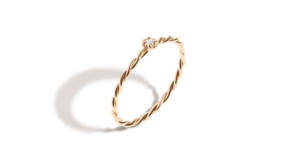 Aurate Mini Stackable Twist Diamond Ring