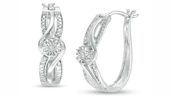 Zales Diamond Accent Bypass Split Row Hoop Earrings