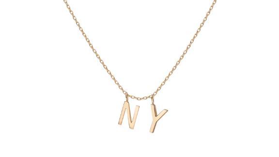 Aurate Double Mini Gold Letter Charm Pendant