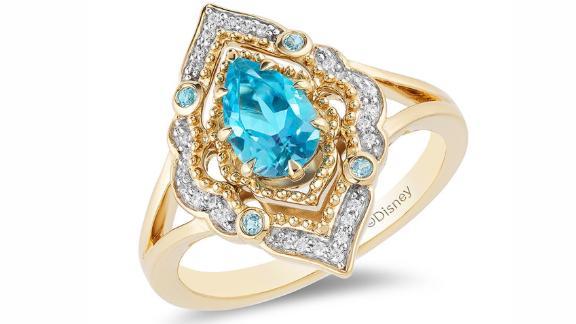 Zales Enchanted Disney Aladdin Pear-Shaped Swiss Blue Topaz and Diamond Arabesque Frame Ring