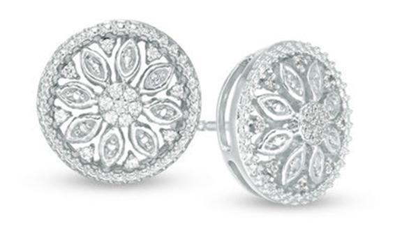 Zales Diamond Flower Stud Earrings