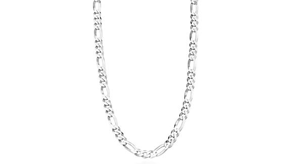 Miabella Solid 925 Sterling Silver Figaro Link Chain Necklace