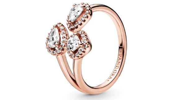 Pandora Rose Geometric Shapes Open Ring