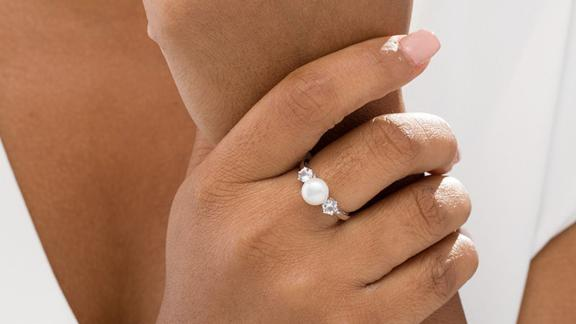 Zales Button Cultured Freshwater Pearl and Lab-Created White Sapphire 3-Stone Ring