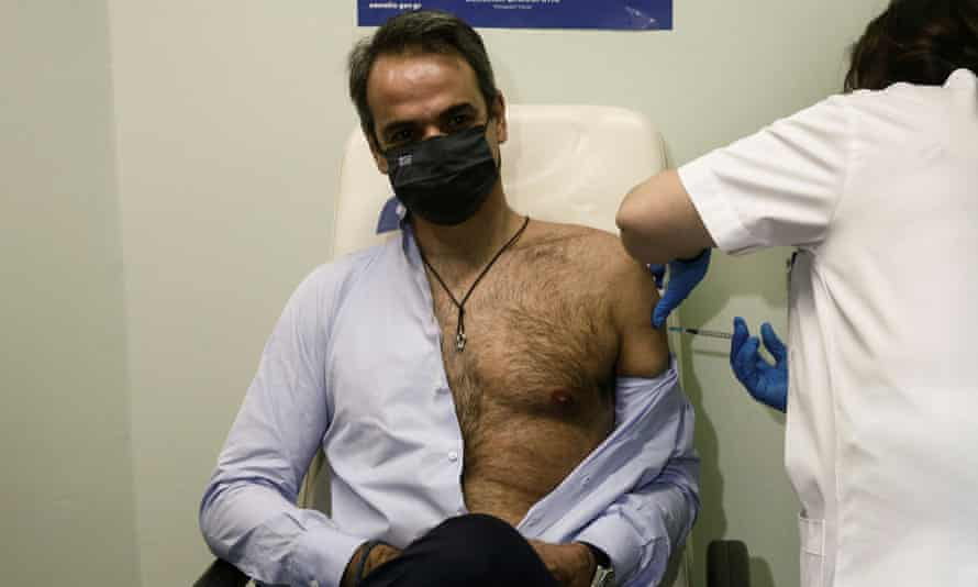 Greek PM Mitsotakis receives the second dose of a vaccine against coronavirus