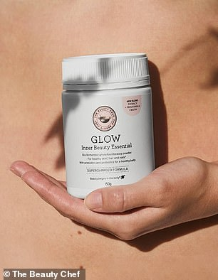 The Glow Inner Beauty Powder ($65) is a daily beauty powder comprising 18 Certified Organic wholefoods including bio-fermented foods (pictured)