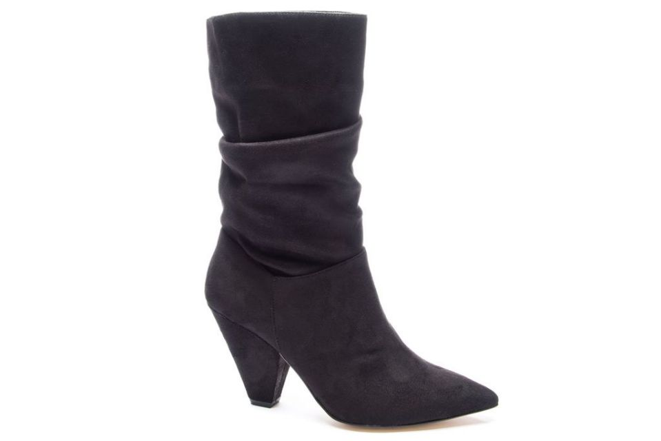 black boots, cone heel, chinese laundry