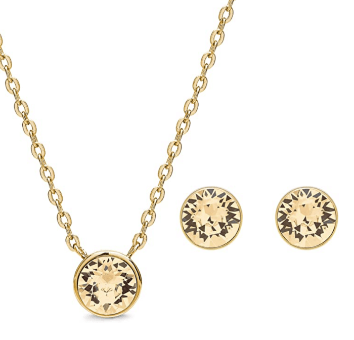 AURA 18K Gold Plated Pendant Necklace and Crystal Stud Earring Jewelry Set