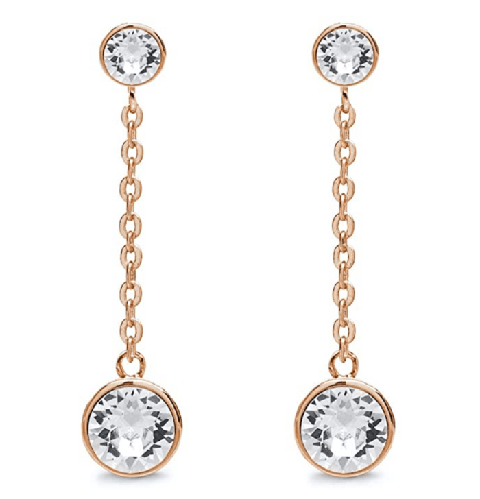 Aura 18K Rose Gold Plated Double Drop Chain Earrings