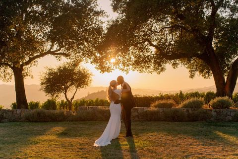the couple at sunset