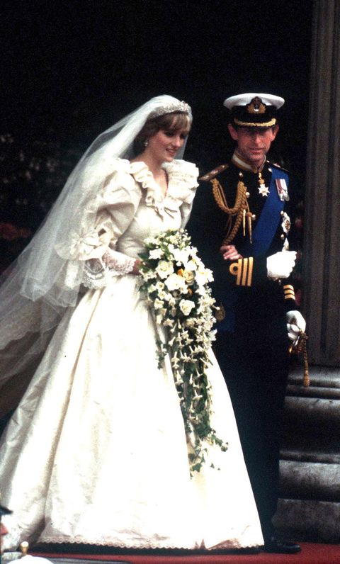 the prince and princess of wales leave st paul's cathedral after their wedding, 29th july 1981 she wears a wedding dress by david and elizabeth emmanuel and the spencer family tiara photo by jayne fincherprincess diana archivegetty images