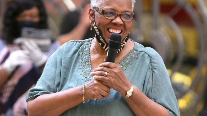 Longtime educator Stephanie Rushin Patrick is seen speaking in 2007 at an event in which the Canton City Board of Education voted to rename Allen Elementary School in her honor.