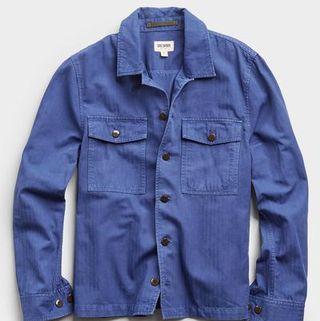 Italian Herringbone CPO Jacket in French Blue
