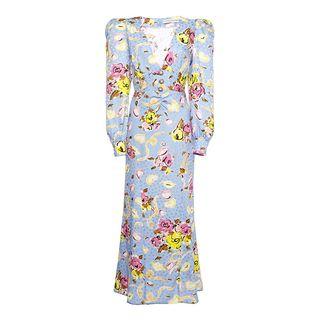 Floral Silk Long Dress