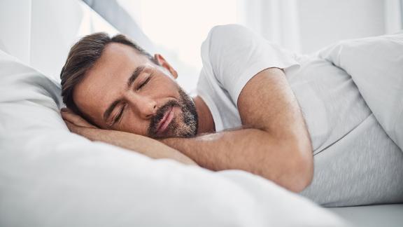 Man sleeping on pillow