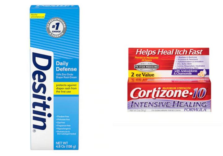 """<strong><a href=""""https://www.walgreens.com/store/c/desitin-rapid-relief/ID=prod6249640-product"""" target=""""_blank"""" rel=""""noopener noreferrer"""">Desitin Daily Defense Cream</a>, $6.99;</strong> <strong><a href=""""https://www.walgreens.com/store/c/cortizone-10-intensive-healing-formula-1-hydrocortisone-anti-itch-creme/ID=prod3908444-product"""" target=""""_blank"""" rel=""""noopener noreferrer"""">Cortizone 10 Intensive Healing Hydrocortisone Anti-Itch Creme</a>, $6.99</strong>"""