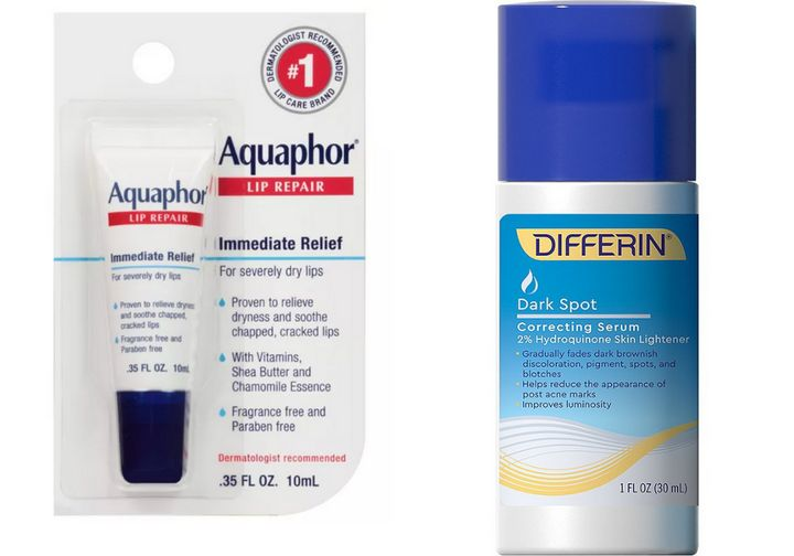 "<strong><a href=""https://www.target.com/p/aquaphor-immediate-relief-lip-repair-balm-0-35-fl-oz/-/A-13288300"" target=""_blank"" rel=""noopener noreferrer"">Aquaphor Immediate Relief Lip Repair Balm</a>, $3.99;</strong> <strong><a href=""https://www.ulta.com/dark-spot-correcting-serum?productId=pimprod2007547"" target=""_blank"" rel=""noopener noreferrer"">Differin Dark Spot Correcting Serum</a>, $21.99</strong>"