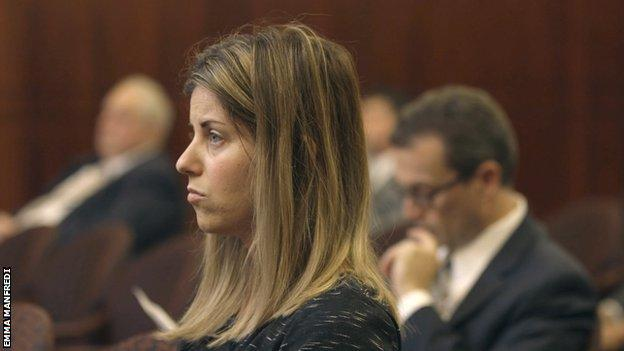 Maria Pinzone in court, side-profile.