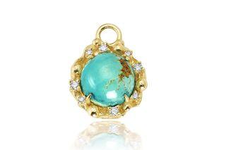 Round Diamond Turquoise Charm
