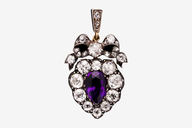 Victorian Amethyst & Diamond Cluster Pendant c.1890