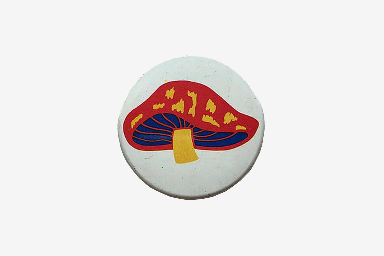 1970s Mushroom Print Pin Badge